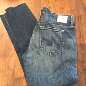 AG slouch the beau jeans 28r ankle frayed